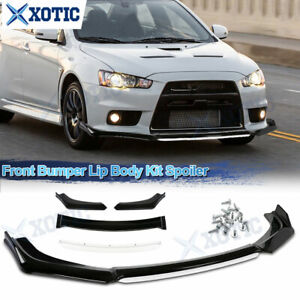 For Mitsubishi Lancer 08 15 Evo X Black White Front Bumper Lip Spoiler Splitter