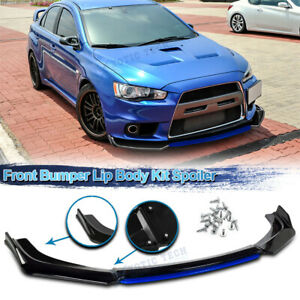 For Mitsubishi Lancer 08 15 Evo X Front Bumper Lip Spoiler Splitter Black Blue