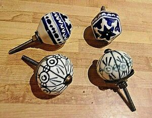 4 Antique Porcelain And Brass Drawer Pulls With Hardware Looks Unused 19 D