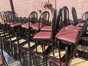 Restaurant Tables Chairs Tubular Metal Chairs W padded Seats Nice Tables