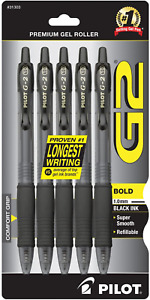 Pilot G2 Refillable Retractable Rolling Ball Gel Pens Bold Point Black 5 Pack