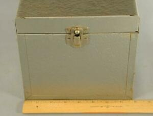 Vintage Gray Metal Portable File Box Steel Chest With Dividers 10 x 8 x 7 1 4