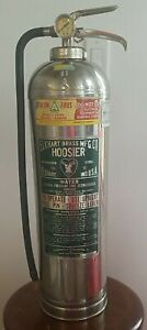 1970 s Elkhart Brass Mgf Co Stainless Steel Water Stream Fire Extinguisher Empty