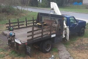 1996 Ford F super Duty Steak Bed W Knuckle Crane 7 5l Gas