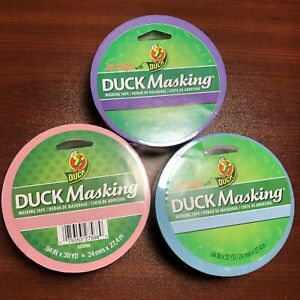 Duck Masking Tape 6 Rolls 2 Pink Blue Purple 94in X 30 Yd Decorating Labeling