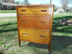 Vintage Industrial Hill Rom Wooden Rolling Hospital Medical Cabinet Chest