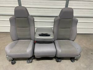 1999 2010 Ford F250 F350 F450 Super Duty Front Seats Gray Cloth