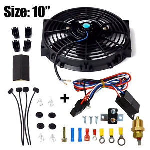 Black 10 Electric Cooling Radiator Fan 3 8 Probe Ground Thermostat Switch Kit