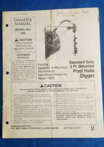 1991 Standard Duty 3 Point Mounted Post Hole Digger Owner s Manual By Worksaver