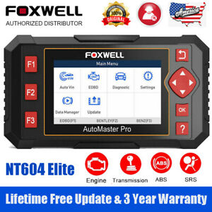 Foxwell Nt604 Elite Auto Diagnostic Tool Scan Car Obd2 Scanner Abs Srs Engine At