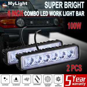 2pcs 6 Inch Led Work Light Bar Flood Spot Lamp Offroad Driving Fog 4wd Suv Truck