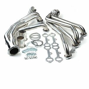 Fit Rounded line Sbc V8 77 84 Exhaust manifold Stainless Steel Long Tube Header