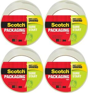 Scotch Shipping Packaging Tape Sure Start 1 88 Inches X 54 6 Yards 4 Rolls
