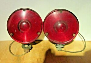 Vintage Pair Of Truck Fender Front Signal Lights guide No d6 52e Amber Red