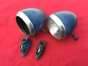 1940 1941 Ford Truck Headlights And Stands Original Pair Pickup 1940 47 Coe