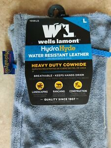 Wells Lamont Hydrahyde Water Resistant Leather Work Gloves heavy Duty L 2 Pair