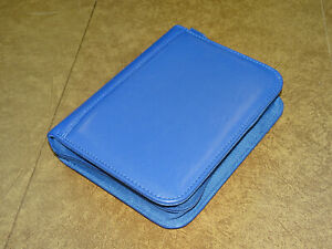 A6 Franklin Covey Compact Fc Signature Leather Zipper Binder Blue
