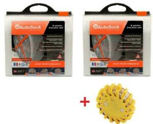 Autosock As698 2 Sets Snow Sock Set W Rechargeable Emergency Safety Flare