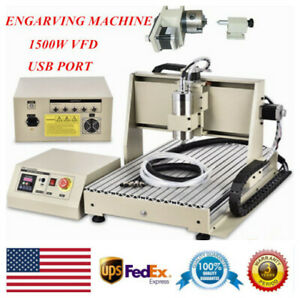 4axis 6040 Usb Cnc Router Engraver Engraving Milling Machine 3d Cutter 1500w Usa