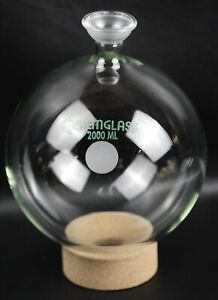 Chemglass Glass 2000ml Round Bottom Boiling Flask 35 20 Spherical Joint