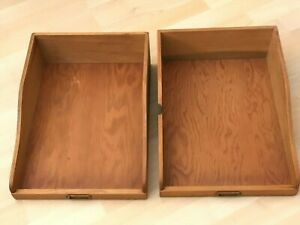 2 Vintage Hand Crafted Wooden File Trays Legal Size In Out Desk Boxes