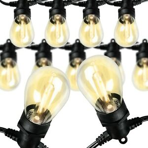 48 Feet Led Outdoor String Lights Commercial Hanging Lights Ul Listed Warm White