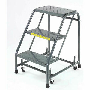 Ballymore 318p Perforated 16 w 3 Step Steel Rolling Ladder 10 d Top Step