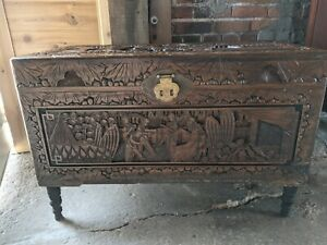 Antique Ornate Carved Wooden Chest With Asian Design
