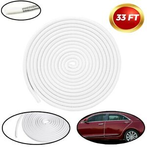 33ft Car Door Trim Edge Strip Lock Guard Moulding Rubber Seal Protector White Us
