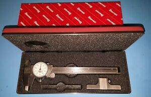Starrett 120 6 Dial Caliper 0 6 White Dial Face 120 And Red Case 120d Base Usa