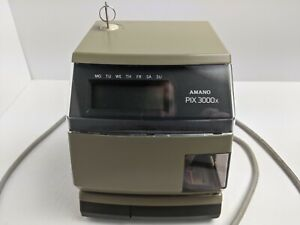 Amano Pix 3000x Digital Electric Time Stamp Recorder Clock Punch In Out Works