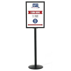 Pedestal Sign Holder Stand Double Sided Slide in Aluminum Poster Frame Outdoor