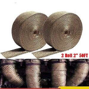 2 Roll 2 50ft Basalt Exhaust Wrap Manifold Header Pipe Heat Wrap Lava Titanium