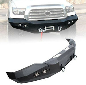 Hecasa Front Bumper Steel Winch Offroad Black Powder For 2007 2013 Toyota Tundra