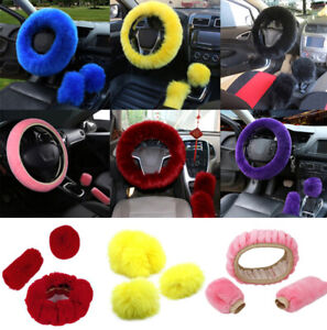 Car Plush Fuzzy Steering Wheel Cover Wool Fur Knob Shifter Brake Universal Set