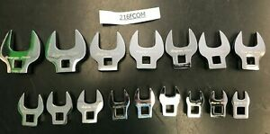 16 Snap on Tools 3 8 Drive Metric Crowfoot Socket Open End Wrench Set 9 24 Mm
