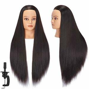 Mannequin Head Human Hair 26 28 Synthetic Hairdresser Styling Training Doll