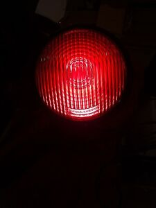 Vintage 6 In Red Glass C M Hall Lamp Co Detroit Mich Ribbed Warning Light