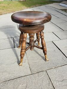 Antique Charles Parker Co Adjustable Piano Stool Claw Foot Glass Ball Feet 1800s