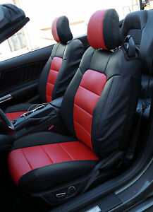 Ford Mustang 2015 2021 Black Red Iggee S Leather Custom Made 2 Front Seat Covers