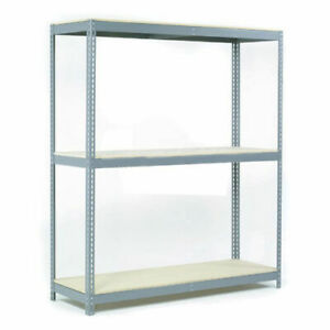 Wide Span Rack With 3 Shelves Wood Deck 1100 Lb Capacity Per Level 96 w X 24 d