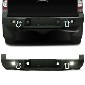 Heavy Duty Rear Bumper For 05 15 Toyota Tacoma W License Plate Led Light Steel