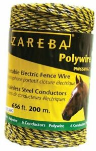 Pw656y6 z Polywire 200 meter 6 conductor Portable Electric fence Rope 1 Pack