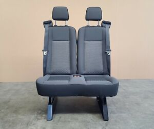 2 Passenger Double Gray Cloth Bench Seat Universal Fit