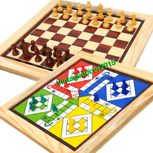 Handmade Classic Wooden 2 In 1 Ludo Magnetic And Chess Armory Board Game 13