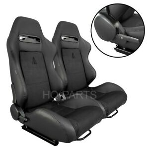 2 X Tanaka Black Pvc Leather Black Suede Racing Seats Reclinable Fits Vw