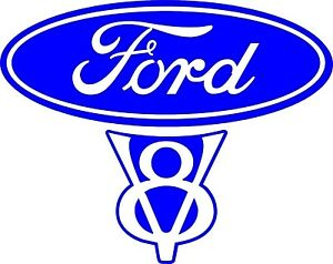 Vintage Old Style Ford V8 Decal 5 6 w X 4 5 h