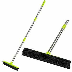 Cgacol Rubber Floor Broom Carpet Rake Rubber Brush Broom With Soft Squeegee A