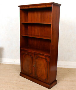 Large Open Bookcase Mahogany Bookshelves Library Cabinet Antique Vintage Tall