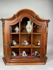 Vintage Tea Cupboard Cabinet With Velvet Inlay And Wooden Shelves